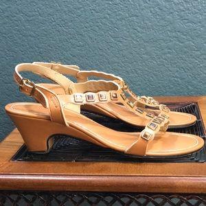 Shoes - Vintage Gold Sandals, Embellished Gems Rhinestones